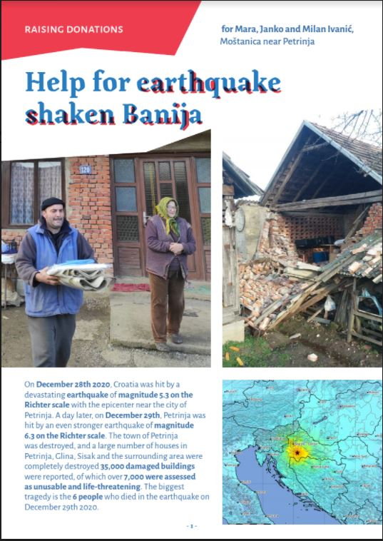 Help for earthquake shaken Banija