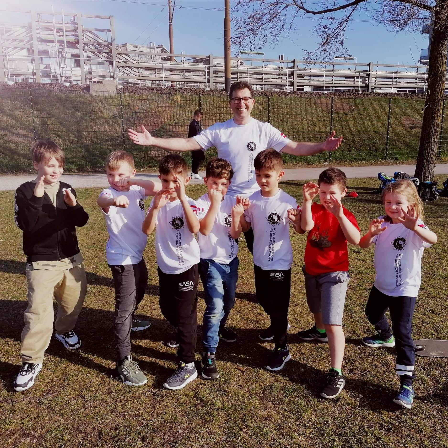 Austrian instructor Lubo Tzolov with members of his kids classes